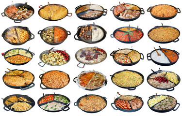 Fast street homemade food  in big frying pans isolated set