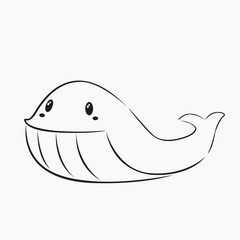 cute and happy whale line art vector
