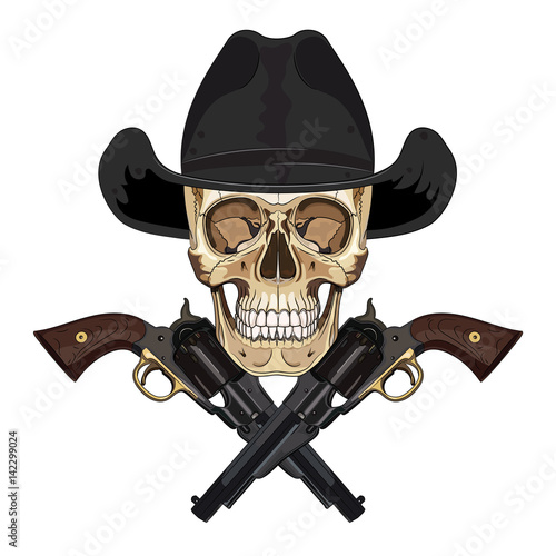 088f3f29fd8 Skull and two crossed gun on background of American Confederate flag ...