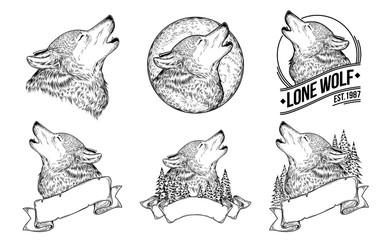 Set vector illustrations of a howling wolves with ribbon, engraving. Print for T-shirts.