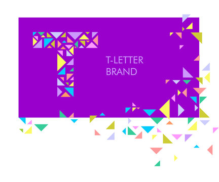 Creative logo for the corporate identity of the company: the letter T. The letter is made up of bright parts, triangles. A mosaic letter, a kaleidoscope. Modern style.  Geometry.