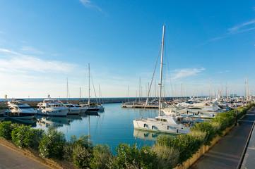 Bay with yachts at its moorings