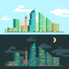 set of wide panoramas of the urban landscape in the day and night