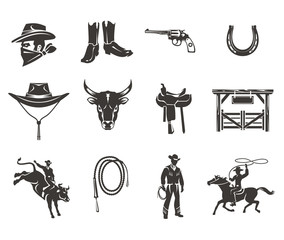 Set of rodeo icons, cowboys silhouettes riding the bull and horse and rodeo accessory isolated on white