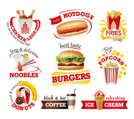 Set of beautiful cartoon icons of fast food isolated on white background.