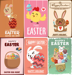 Vintage Easter Egg poster design with Easter rabbit, chicken