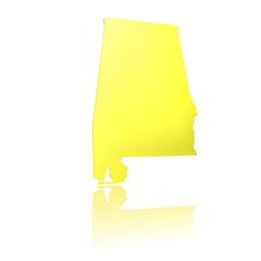 USA, Alabama, 3D Piktogramm in Gold mit Reflexion