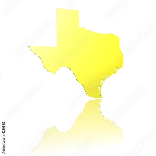 USA, Texas, 3D Piktogramm in Gold mit Reflexion