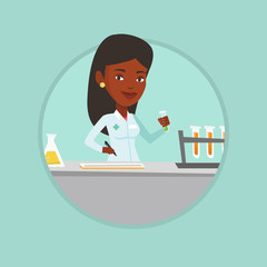 Laboratory assistant working vector illustration.