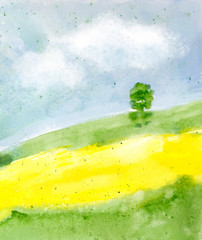 abstract watercolor landscape background with summer field, trees, sky with clouds