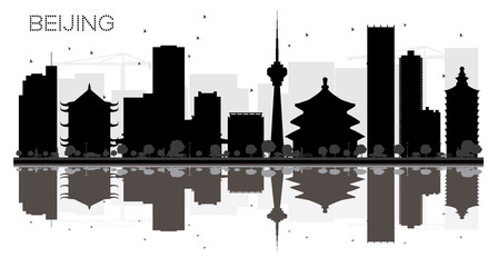 Beijing City skyline black and white silhouette with reflections.