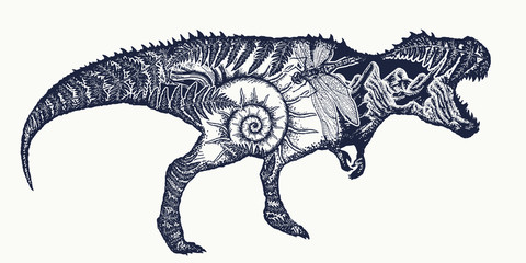 Tyrannosaur double exposure tattoo art. T-Rex dinosaur monster t-shirt design.Symbol of archeology, paleontology