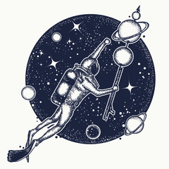 Astronaut in deep space t-shirt design. Diver floats in space tattoo art. Symbol of science, research, space travel