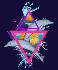 Jumping dolphins surreal color t-shirt design, geometric art, 80s style. Dolphins tattoo art
