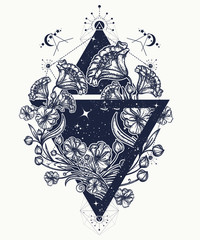 Flowers in a triangle tattoo art. Graceful flowers in mystical triangle t-shirt design