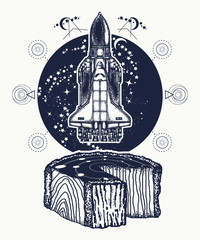 Space shuttle takes off tattoo art. Symbol of space research, the flight to new galaxies