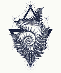 Nautilus shell prehistoric tattoo art. Ancient ammonite in the triangle t-shirt design