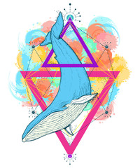 Whale color tattoo geometric style. Travel, outdoors symbol. Mystical symbol of adventure, dreams, t-shirt design