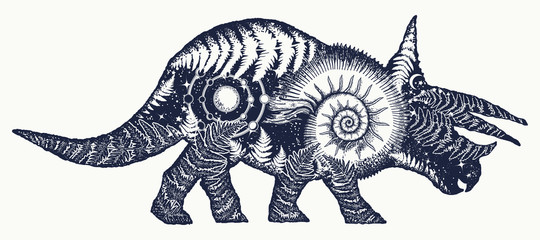 Triceratops double exposure tattoo art. Triceratops dinosaur t-shirt design.Symbol of archeology, paleontology