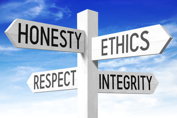 Business ethics - wooden signpost