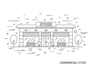 Linear exterior (landscape) design illustration of store (shop) with windows, trees. Outline vector graphic concept of store (shop) exterior (landscape) design.