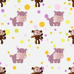 seamless pattern with cartoon cute toy baby behemoth, monkey and Circles on a light gray background