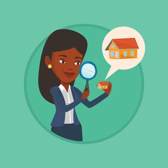 Woman looking for house vector illustration.