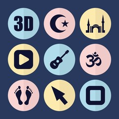 Set of 9 shape filled icons
