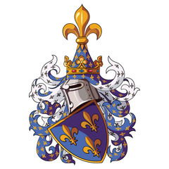 Knightly coat of arms. Medieval knight heraldry