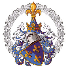 Knightly coat of arms. Medieval knight heraldry and Medieval knight ornament