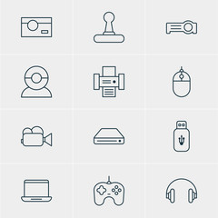 Vector Illustration Of 12 Accessory Icons. Editable Pack Of Game Controller, Photocopier, Usb Card And Other Elements.