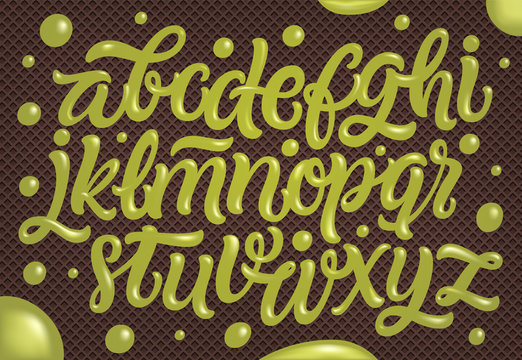 Homemade pistachio ice cream typography alphabet isolated on chocolate wafer background. Vector hand lettering for sweet food packaging.