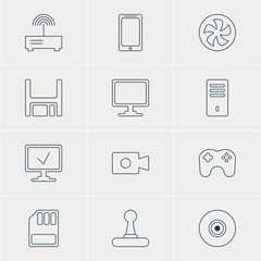 Vector Illustration Of 12 Laptop Icons. Editable Pack Of Router, Gamepad, Storage And Other Elements.
