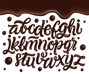 Latin alphabet made of dark melted chocolate with border. Sweet food packaging font. Liquid font style. Vector illustration.