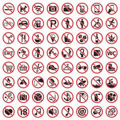Prohibited icon set, warning danger prohobited signs