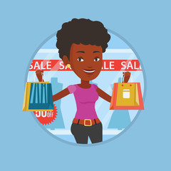 Woman shopping on sale vector illustration.