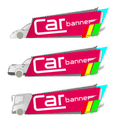 banner with car set and simple text  design elements vector illustrations