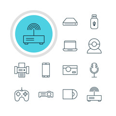 Vector Illustration Of 12 Device Icons. Editable Pack Of Computer, Usb Card, Photocopier And Other Elements.