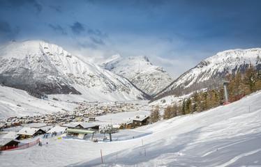 Alpine Ski Resort And Ski Slopes in Winter Season, Livigno, Italy