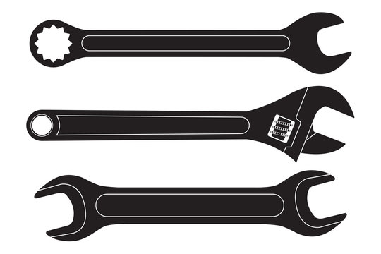 Set of wrenches. Black flat icons