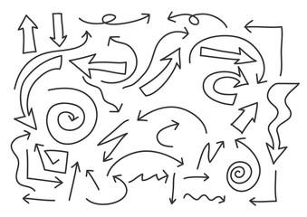 arrows hand drawn line art vector set illustration