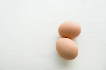 isolated two fresh chicken eggs