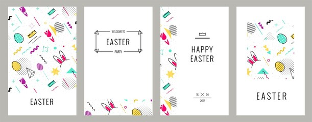 Trendy geometric elements memphis cards. Happy Easter invitation cards in 80s, 90s memphis style with holiday symbols. Vector illustration