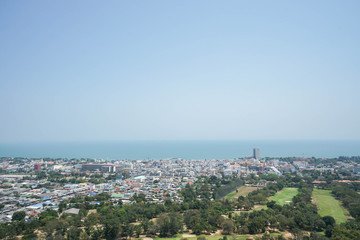 top view of city nearby the sea
