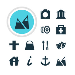 Vector Illustration Of 12 Check-In Icons. Editable Pack Of Film, University, Cross And Other Elements.