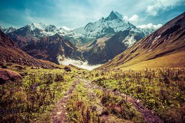 Majestic beautiful Fishtail Mountain in Annapurna mountain range, Nepal