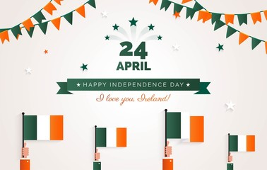 24 April. Ireland Independence Day greeting card.   Holiday background with waving flags, ribbon and garlands. Vector flat illustration