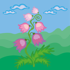 Spring flower with blue sky with clouds in background. Vector Illustration