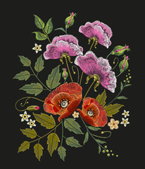 Flowers embroidery on black background. Decorative floral embroidery elegant flowers beautiful poppies