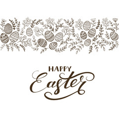 Black floral elements with eggs and lettering Happy Easter